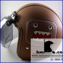 Helm Bogo Kulit Domo Brown
