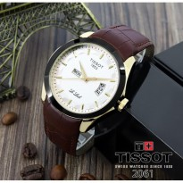 Termurah! Jam Tangan Pria Tissot Daydate Leather Brown Rose Ring Black White