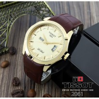 Termurah! Jam Tangan Pria Murah Tissot Daydate Leather Brown Full Gold