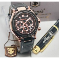 Termurah! Jam Tangan Pria / Cowok Tetonis Original TN1215 Leather Black Rose