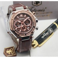 Termurah! Jam Tangan Pria / Cowok Tetonis Original TN1215 Leather Brown Silver