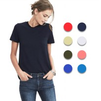 Ladies Short Sleeve Round Neck T-Shirts - Available In 8 Colors - Export Quality - Kaos Wanita Import
