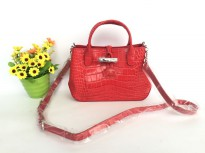 Authentic Longchamp Roseau Croco Crossbody - red
