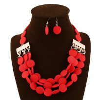 Set Kalung + Anting Red Three Layer Coin SET56363