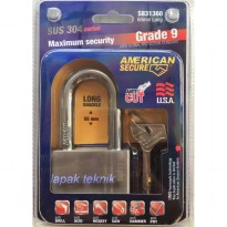 AMERICAN SECURE 60mm Long Gembok Panjang Grade 9 SUS 304 Series