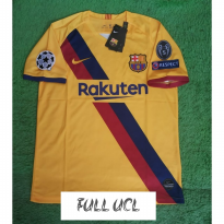 FULL PATCH UCL JERSEY BOLA BARCELONA AWAY 2019-2020 GRADE ORI