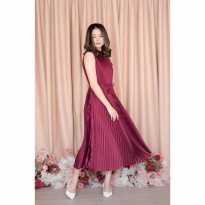 Cantik Pantone Dress Burgundy - Moss The Label