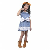 Gaun Pendek / Dress Anak Perempuan jeans Biru Catenzo Junior CDF 119