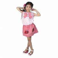 Gaun / Dress Anak Perempuan katun Putih Pink Catenzo Junior CMS 001