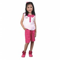 Gaun / Dress Anak Perempuan katun Putih Pink Catenzo Junior CMS 122