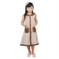 Gaun / Dress Anak Perempuan katun Krem Coklat Catenzo Junior CSH 030