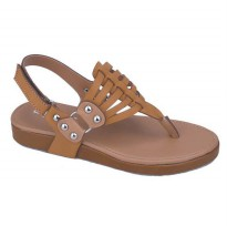 Sandal Flat Kasual Anak Perempuan  Coklat Tan Catenzo Junior CDS 035