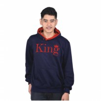 Jaket / Hoodies / Sweater Kasual Couple Pria Biru Navy Catenzo PL 431