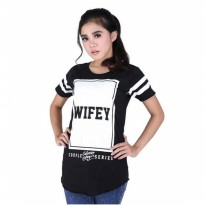 Kaos Distro / T-Shirt Kasual Couple Wanita Katun Hitam Catenzo PS 513