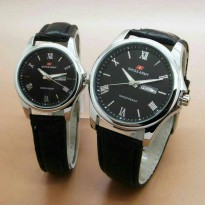 Jam Tangan COUPLE Swiss Army - SA574-01 Tali Kulit (Hitam Ring Silver)