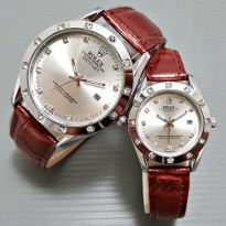 Jam Tangan Rolex Couple Leather - Brown Silver