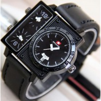 Termurah! Jam Tangan Pria / Cowok Swiss Army Big Size SK2 Leather Full Black
