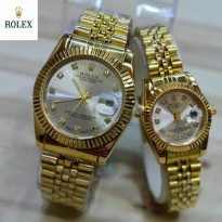Promo Jam Tangan Rolex Oyster Gold White Couple