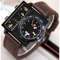 Termurah! Jam Tangan Pria / Cowok Swiss Army Big Size SK2 Leather Dark Brown