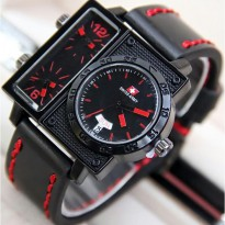 Termurah! Jam Tangan Pria / Cowok Swiss Army Big Size SK2 Leather Black Red