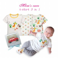 T-shirt Pendek 3in1 Boy Mom's Care Hello Animal