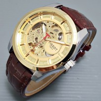 Termurah! Jam Tangan Pria / Cowok Tissot Skeleton 1853 Leather Brown Gold