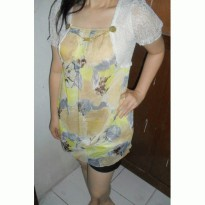 Yellow Korean Fashion knitting floral semi dress waisted two-piece