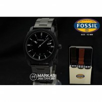 Jam Tangan Pria Fossil Black Stainless Steel Set (Free 1 Leather+Box)