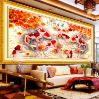 DIY Diamond Painting 5D. 9 Koi Maple. (100x50 CM) D23. Lukisan Fengshui, Dekorasi.