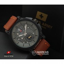 Jam Tangan Pria Swiss Army Date Crono Detik Leather Watch