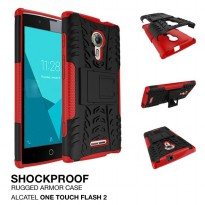 Alcatel One Touch Flash 2 Shockproof Armor Hybrid Hard & Soft Case - Merah