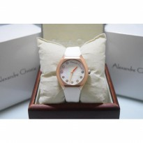 Alexandre Christie AC 2604 Rubber Rose Gold White For Ladies Original