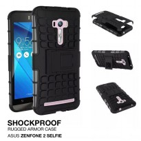 Asus Zenfone 2 Selfie Rugged Shockproof Armor Hybrid Hard & Soft Case - Hitam