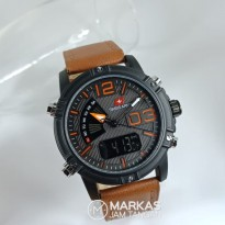 Jam Tangan Pria Swiss Army Double Time Leather Strap Watch