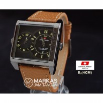 Jam Tangan Pria Swiss Army Dual Time Leather Watch