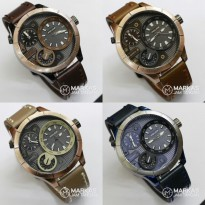 Jam Tangan Pria POLICE Multi-Function Dual Time Leather