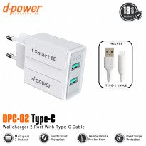 (POP UP AIA ) Dpower DPC-02 2 Ports Wall Charger With Type-C Cable