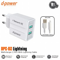 (POP UP AIA ) Dpower DPC-02 2 Ports Wall Charger With Lightning Cable