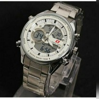 Swiss Army Dual Time Jam Tangan Pria - Stainless Steel - SA 7917 (Silver White)