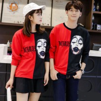 Baju Hoodie Couple Sweater Kaos Pasangan Kopel Kapel Kembar Murah Red Black