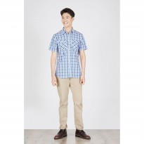 [ BERRYBENKA ] Men Suica Plaid Shirt Light Blue