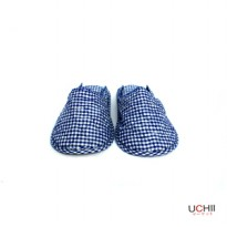 Cotton Home Slipper Blue Plaid Pattern S and L / Sandal Selop Rumah Kain Katun