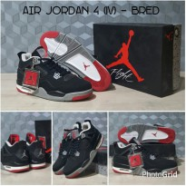 Sepatu basket Nike Air Jordan IV AJ 4 'Bred' Black Red