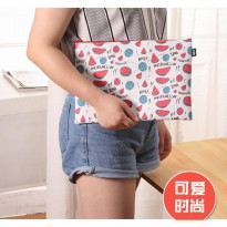 sma008 map kulit motif buah fruits colorful pouch cute document bag