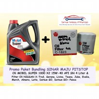 Paket Oli MOBIL SUPER 15W-40 & Filter NISSAN EVALIA MARCH ALMERA LATIO ORIGINAL