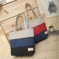 Korean 3 stripes color Canvas Tote Bag / Tas kanvas bahu Wanita
