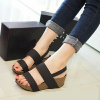 [Sh] Sandal Sepatu Wedges 0266,0313 Hitam,Merah 5 Option Suede,Denim+Sintetis