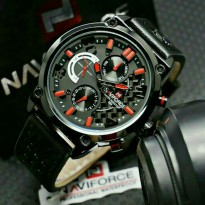 Jam Tangan Pria Naviforce Date Leather Chrono OriginaL Black Red
