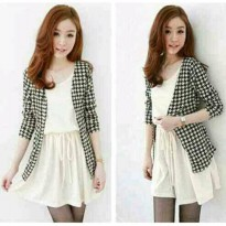 SET CARDI HS DRESS+CARDI SPANDEK GOOD FIT TO L