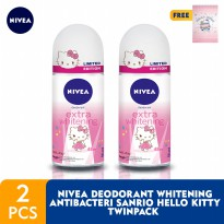 NIVEA Deodorant Extra Whitening Roll On 50ml Sanrio Hello Kitty - Twin Pack